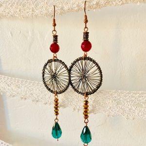 Handmade long dangle dream catcher earrings